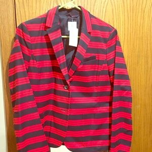 Blue/red stripe blazer